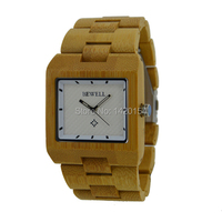 Fashion Natural Bewell Square Wood Bamboo Watches for Men Cheap Price