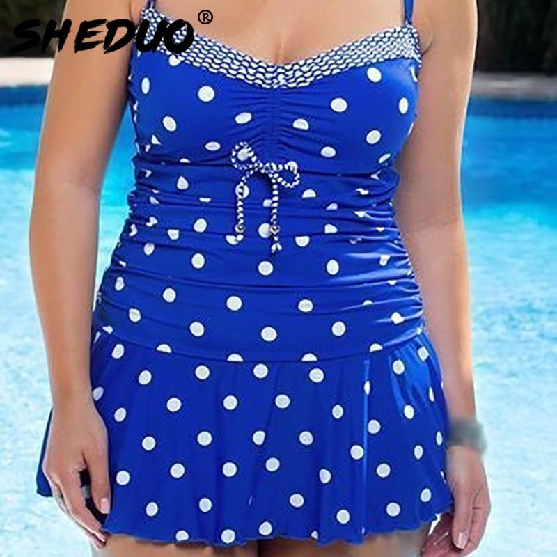 Dots Print Swimwear Brazilian Monokini Skirt Swimsuit Women Bodysuit Plus Size Swimsuit 2017 Vintage Retro Bathing Suit bikinis Clothing Underwear & Exotic Apparel