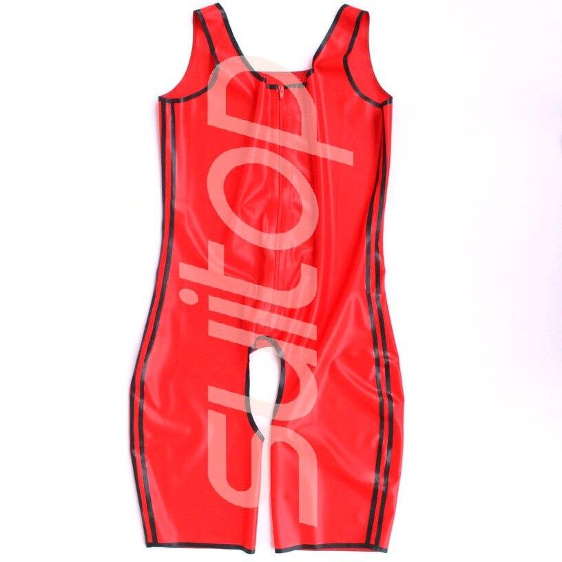 Livraison gratuite Look humide Sexy hommes Latex combinaison en caoutchouc combinaisons entrejambe ouverte (garniture rouge et noire)