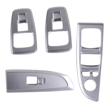 beler 4pcs Silver ABS Interior Door Armrest Panel Window Switch Cover Trims Car Inner Decorations Fit for BMW 7 Series 2016-2017