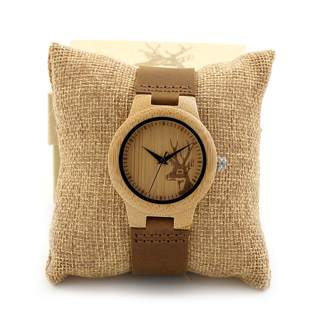 BOBO BIRD Wooden Watch Lovers Engrave Deer Bamboo Dial Quartz Wristwatch with Genuine Leather Band in Gift Box 1