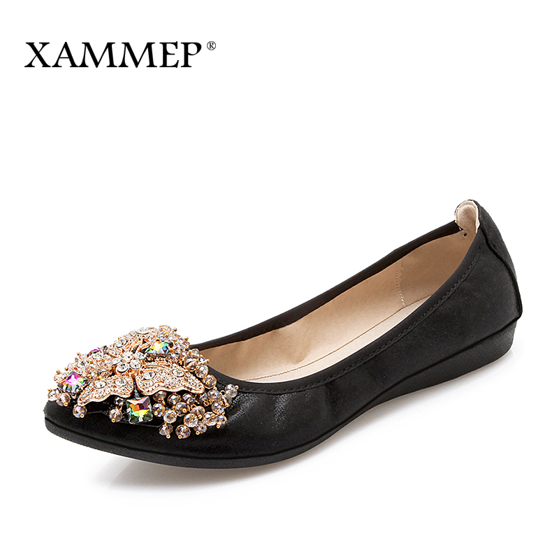 Xammep Women Ballet Flats Spring Autumn Brand Women Shoes Women Sneakers Female Casual Shoes Crystal Pointed Toe Plus Big Size все цены