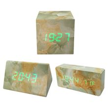 Marble Alarm Clock Wooden LED Alarm Timer With Dual Power Supply Voice Control Screen