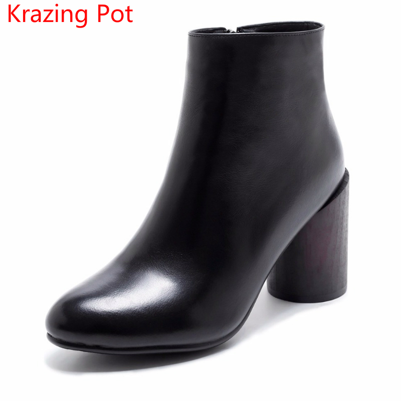2018 Genuine Leather Round Toe High Heels Zipper Fashion Winter Boots Women Keep Warm Superstar Runway Elegant Chelsea Boots L85 fashion genuine leather chelsea boots handmade keep warm winter boots round toe thick heels concise ankle boots for women l08