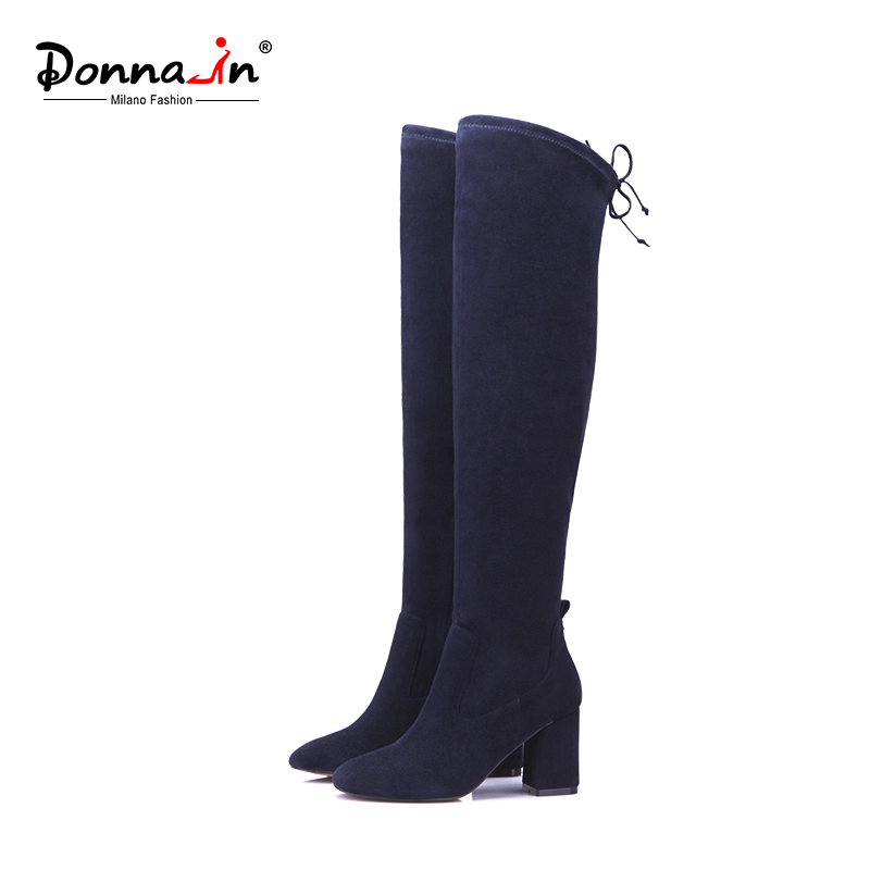 Donna-in high boots above knee elastic microfiber woman booties square toe thick heels ladies shoes fashion long boots 2018 new кондиционер kerasys для волос оздоравливающий 400 мл