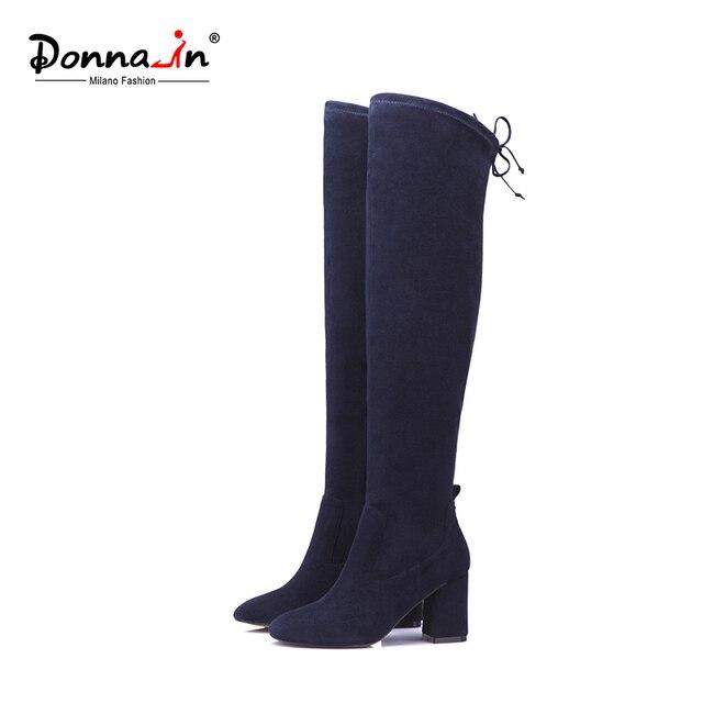 Donna-в выше колена эластичные сапоги из микрофибры женские ботинки на толстом каблуке с квадратным носком женские сапоги высокий каблук стильные высокие сапоги Новинка 2017