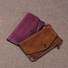 High quality Chinese style Genuine Leather Vintage female zipper purse name brand fashion pattern Clutch Wallet women цены