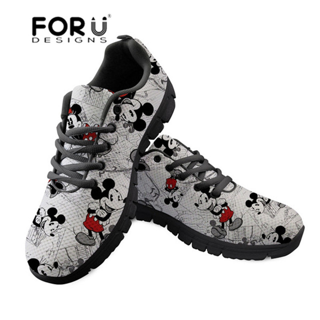 FORUDESIGNS Cute Cartoon Mouse Printing Women Sneakers Platform Lightweight Mesh Flats Shoes for Ladies Comfortable Casual Shoes