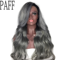 PAFF Ombre Grey Lace Front Human Hair Wigs Brazilian Body Wave Virgin Human Hair Lace Wigs With Bleached Knots Baby Hair