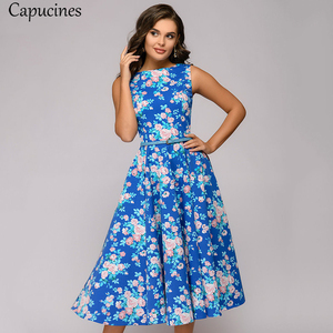 Image 5 - Capucines zarif Vintage nokta baskı evaze elbise kadın yaz kolsuz o boyun orta buzağı rahat elbise kadın Vestidos