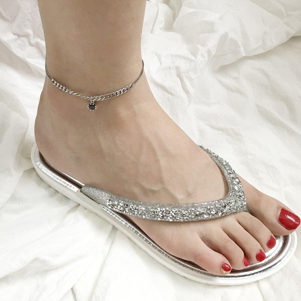 Amaiyllis Minimalismus S925 Sterling Silber Ketten Zirkon Ankle Fuß Schmuck Für Bein Armband Femme Tornozeleira Pulsera Produkte Werden Ohne EinschräNkungen Verkauft