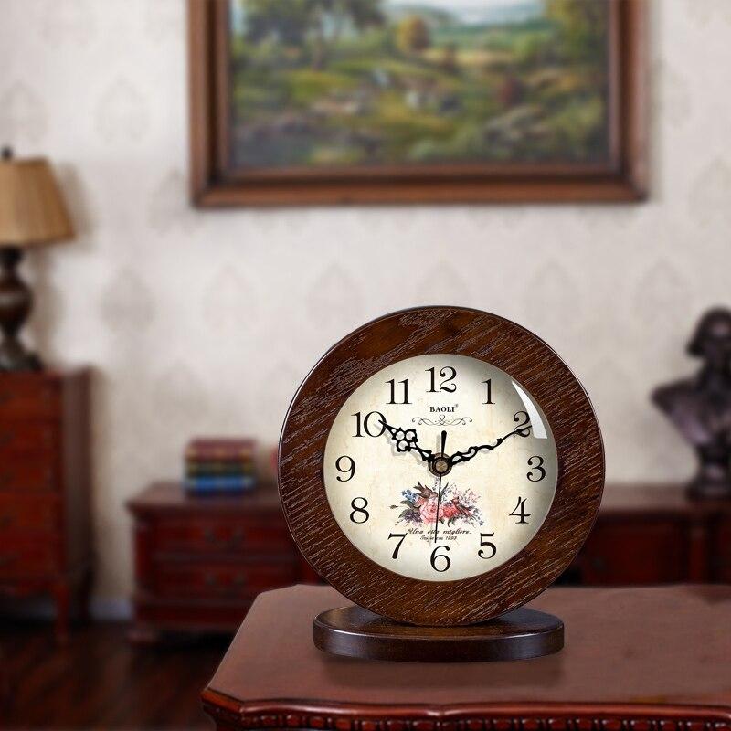 Style Pastoral fleurs motif muet bureau en bois aiguille horloge bureau numérique Quartz horloge maison créative décoration ornements - 6