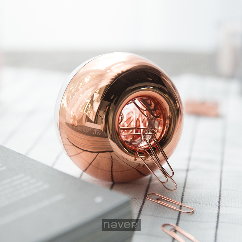 Fashion Rose Gold Color Round Cute Desk Accessories Office Accessories Clip Dispenser Clip Holder Plastic Pop Wire Clips Holder