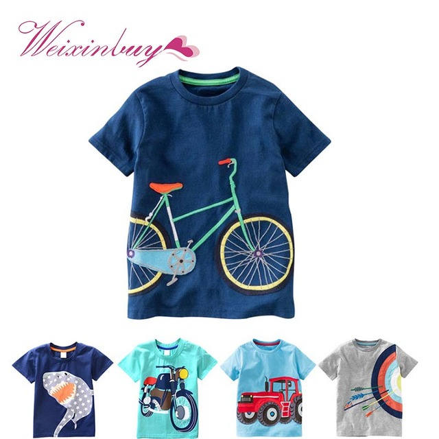 2019 ילדים חדשים בני תינוק מזדמנים קצר שרוול הדפסת חולצה קיץ ילדי Toddlder טי חולצות חולצות בגדי 2-8 T מגניב