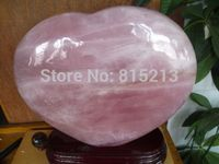 ddh001052 NATURAL PRETTY ROSE QUARTZ CRYSTAL HEART + STAND