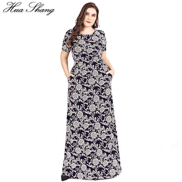 1b268769ed6 Plus Size Dresses For Women 4xl 5xl 6xl Summer Short Sleeve Floral Print  Vintage Boho Dress Pocket Floor Length Long Party Dress