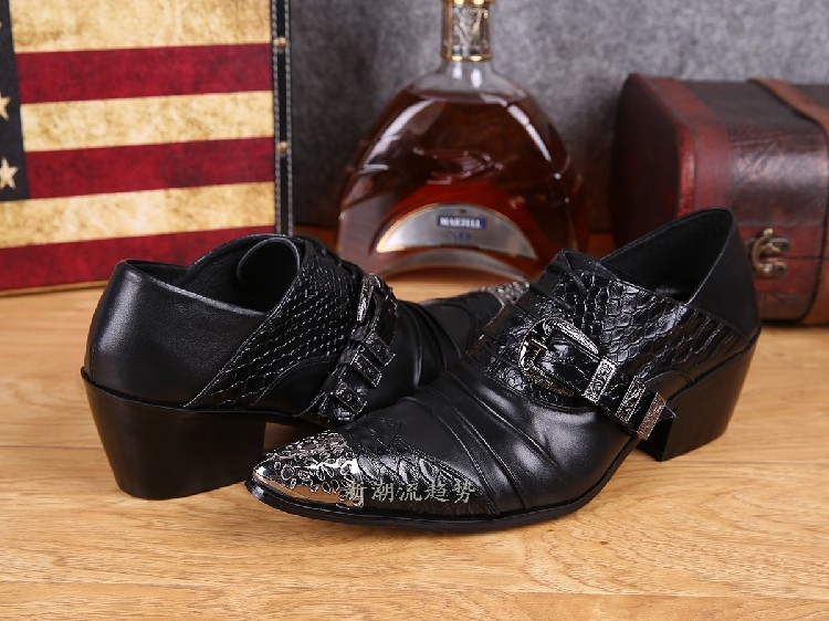Mens pointed toe dress shoes black white red color crocodile skin men leather shoes iron toe formal wedding shoes spiked loafers