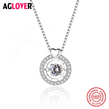 Move Austria Crystal 100% 925 Sterling Silver Round Heart Pendant Necklace Women Authentic Chain Jewelry Gift