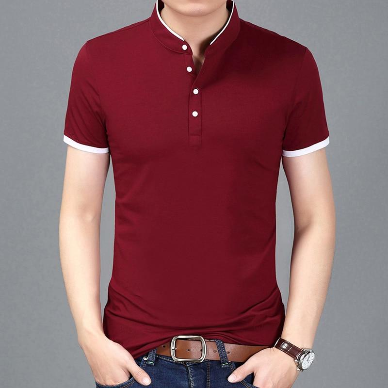 2018 Summer New Fashion Brand Clothing Tshirt Men Solid Color Slim