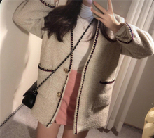 Small fragrant wind tweed coat design feeling female minority spring and autumn high cold fan all-match very fairy short money j