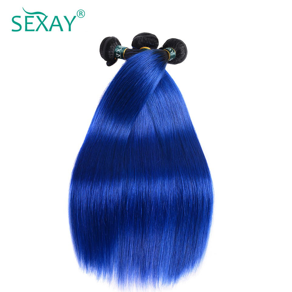 Sexay Ombre Human Hair 4 Bundles Lot Pre-Colored Straight Two Tone T1B/Blue Ombre Indian Silky Straight Human Hair Weave Bundles