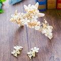 Estrelas do mar Shell Conjunto Brinco de Strass Pérola Da Coroa Tiara Headpiece Bridal Acessórios Para o Cabelo de Noiva Do Casamento de Praia Jóias WIGO0994