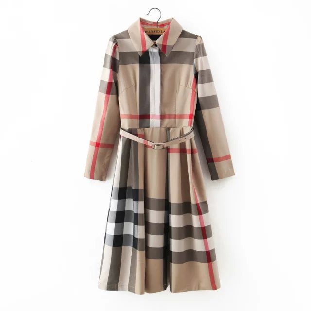 Retro Classic style plaid winter dress dress 2015 vintage ladies ...