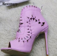 Hot Selling Women Fashion Open Toe Pink Cut out High Heel Ankle Boots Super High Short Gladiator Boots Petty Dress Shoes