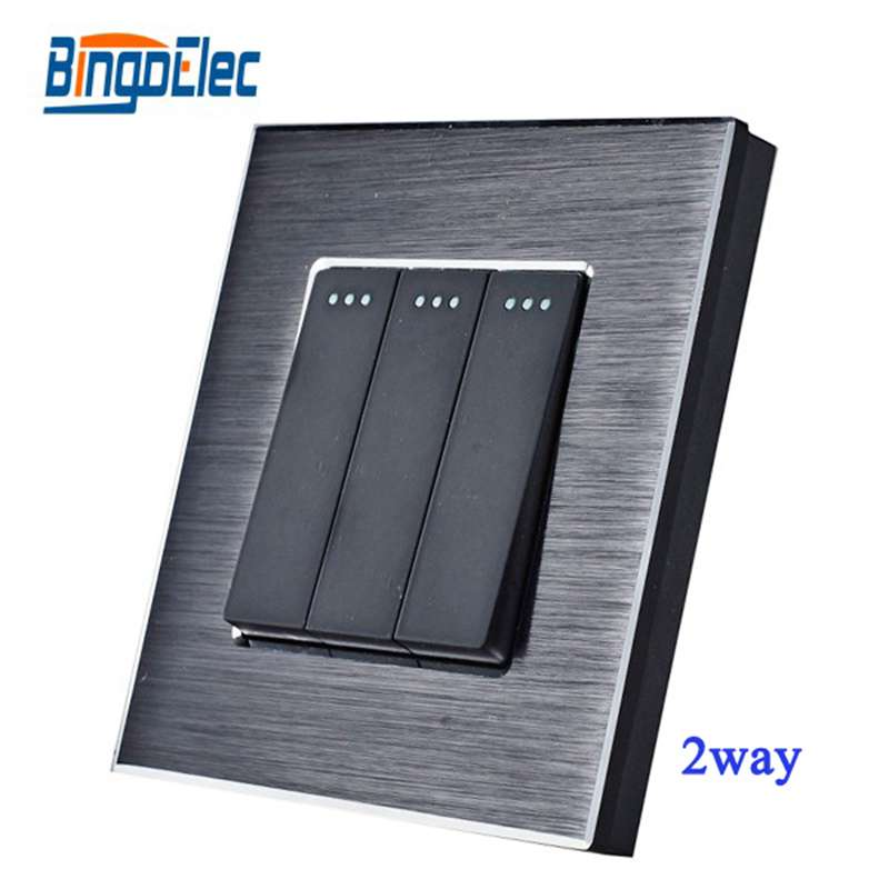Hot Sale EU/UK Standard Wall Switch Switch,AC220v,3gang 2way Black Aluminum Panel Light Switch On/Off Electrical Switch suck uk