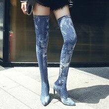 Senhoras Mulheres Bota Calcanhar Super Alta Tornozelo Sobre O Joelho Bota Denim Zipper Botas Sapatos sapato bota feminina feminino estampado # P12