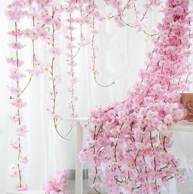 200cm Artificial Cherry Blossoms Flower Wedding Decoration DIY Rattan Garland Simulation Flowers Vine Party Home Wreath