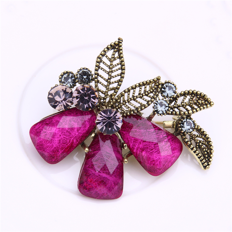 crystal flower brooch jewelry pins metal leaf brooches for women rhinestone broches