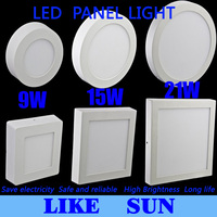 Free shipping 9W/15W/21W Round/Square Led Panel Light Surface Mounted Downlight lighting Led ceiling down AC 110-240V + Driver