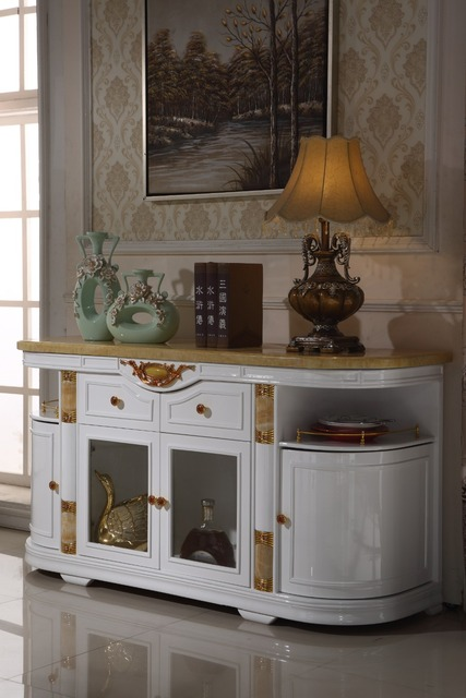 White Wooden Console Table Side Cabinet Storage Drawer