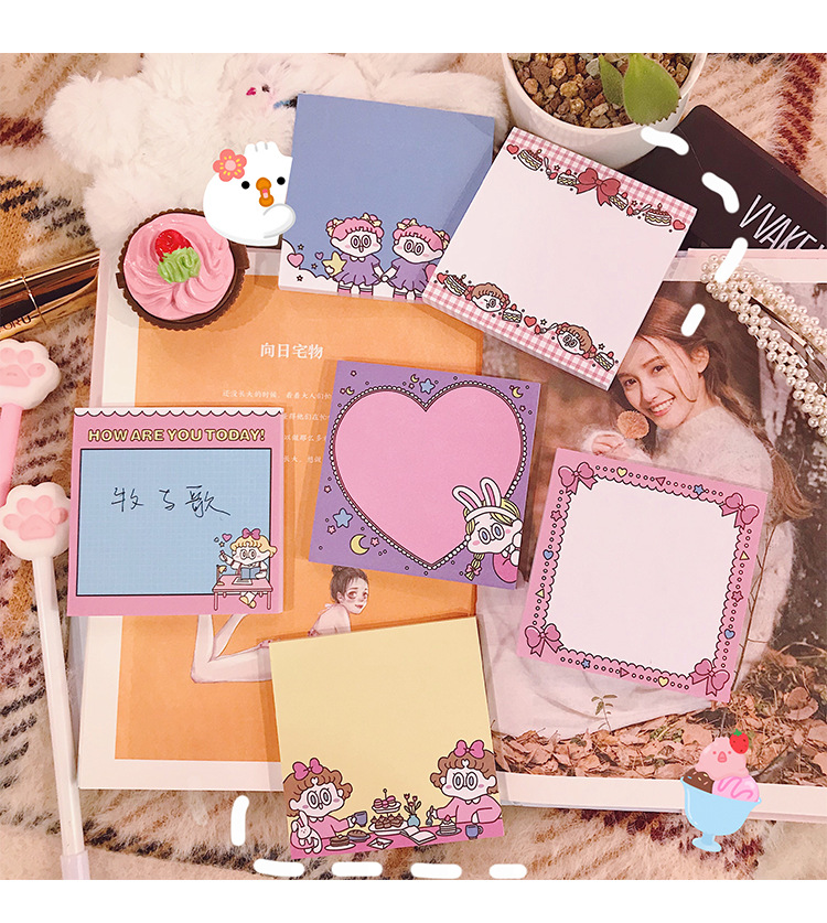 Kawaii Pink Girlhood Sticky Notes Memo Pad Diary Stationary Flakes Scrapbook Decorative Cute Nordic Style N Times Sticky