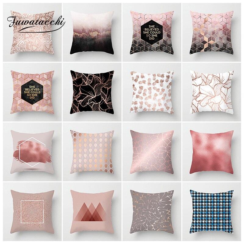 Fuwatacchi Style nordique housse de coussin rose rayé diamant taie d'oreiller pour canapé maison géométrique décoratif oreillers 45*45 cm