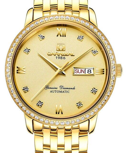Carnaval hommes or affaires diamant échelle en acier bracelet de montre 3Bar étanche double calendrier automatique auto-vent mécanique montre