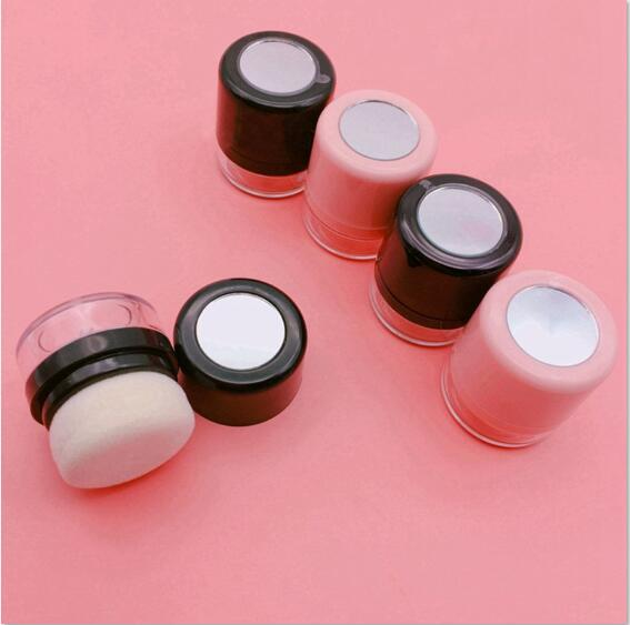 1/2pcs 6-10g Empty Pink/Black Cosmetic Loose Powder Case with Puff & Mirror Mini Travel Makuep Blush DIY Refillable Container bob cosmetic makeup powder w puff mirror ivory white 02