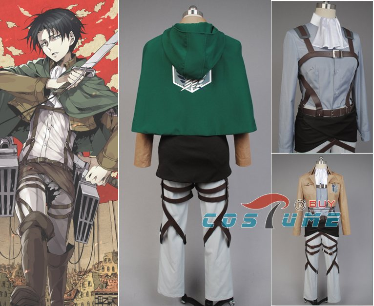 Attack on Titan Shingeki no Kyojin Scouting Legion Rivaille Cosplay Costume Halloween Costume