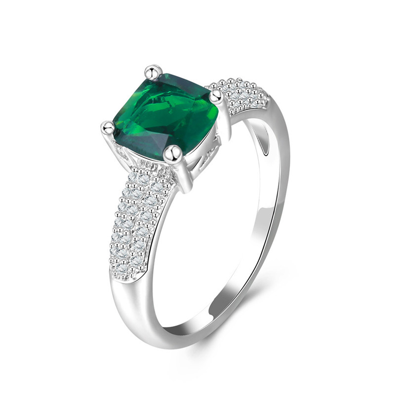 100% 925 Sterling Silver Fine Jewelry Wedding Rings for Women Classic Design Green Stone Square Ring Bride Engagement Bague R534