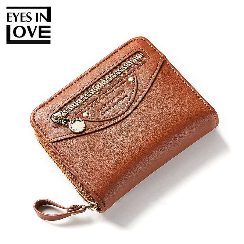 Eyes In Love Vintage Leather Wallet Women Short Female Wallet For Credit Cards Lady Casual Zipper Coin Purse Small Pocket Girls new brand colors purse plaid leather zipper wallet cards holder wallet for girls women wallet