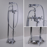 Bad Kranen Messing Chrome Floor Stand Badkamer Regen Handdouche Waterval Kraan Telefoon Type Bad Mengkraan HJ-5034