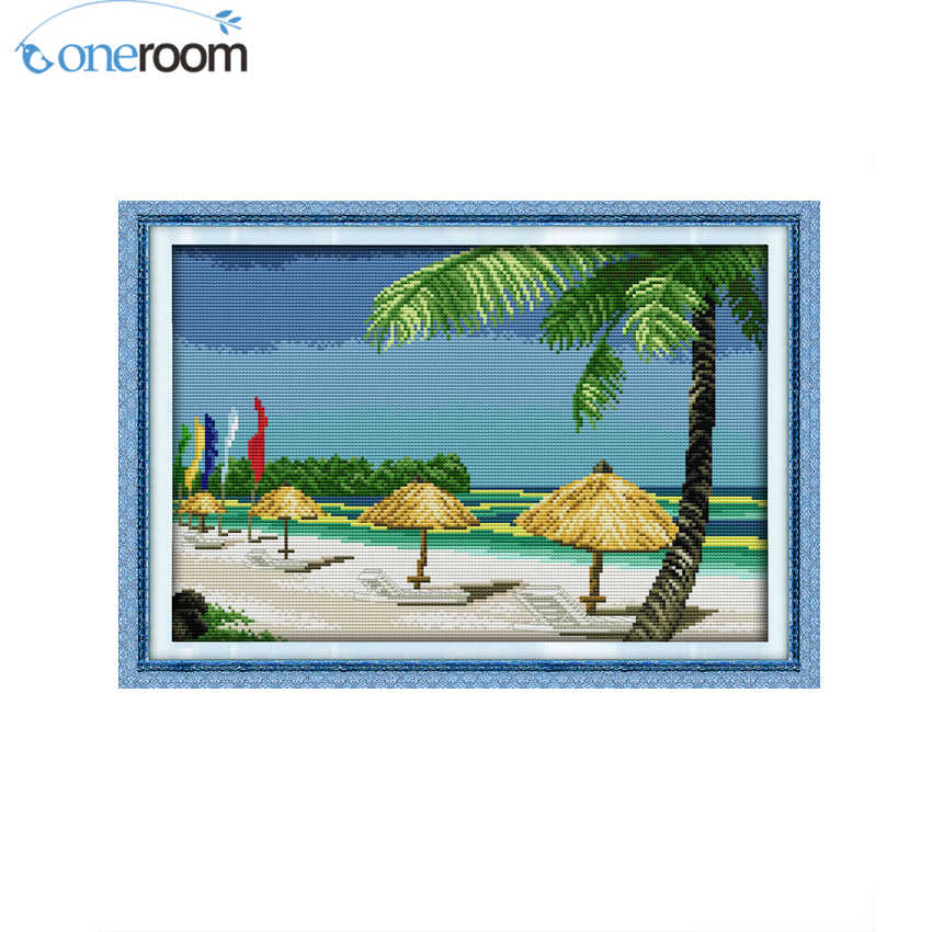 oneroom Beach scenery Patterns Counted Cross Stitch 11CT 14CT Cross Stitch Set Wholesale Chinese Cross-stitch Kit Embroidery