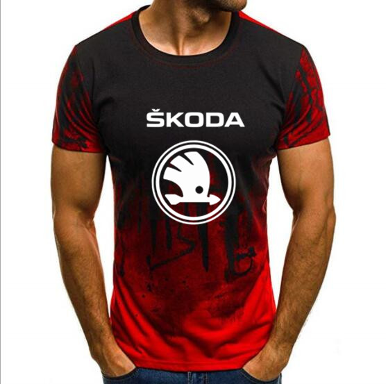 Brand printing Skoda logo 100%   T     shirt   Summer men short sleeve   T     shirt   Camouflage Short Sleeve tshirt