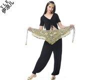 2015 New Arrival Cheap Women Belly Dance Hip Scarf Leopard Print Gold Coins Velvet Belt For