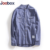 Joobox Brand Solid Cotton Linen Shirts Men Long Sleeve Shirt Mandarin Collar Chinese Style Mens Slim