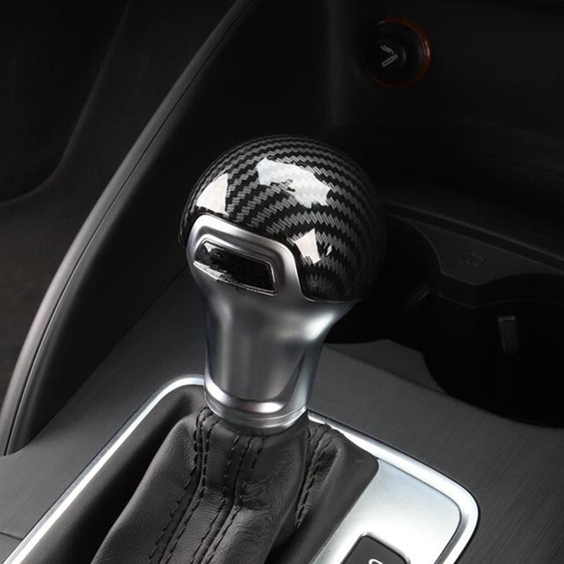 Carbon Fiber Color Gearshift Handle Frame Cover Sticker For Audi A3 8V S3 A4 B8 A5 A6 C7 S6 A7 S7 Q5 Gear Shift Knob Head Decal