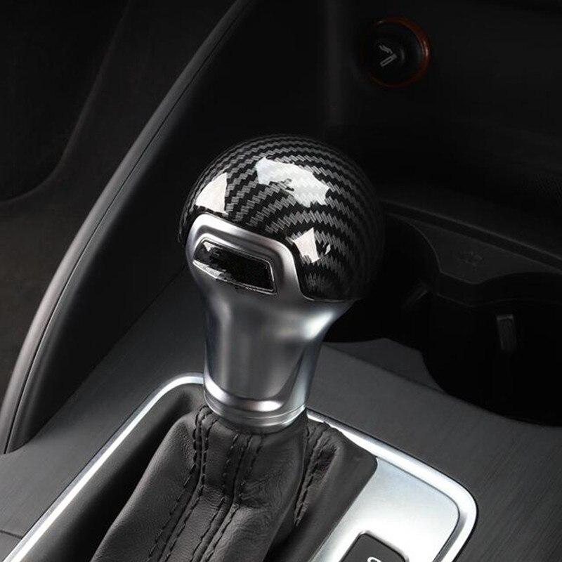 Cor da fibra de carbono gearshift lidar com quadro capa adesivo para audi a3 8 v s3 a4 b8 a5 a6 c7 s6 a7 s7 q5 cabeça do botão do deslocamento de engrenagem decalque