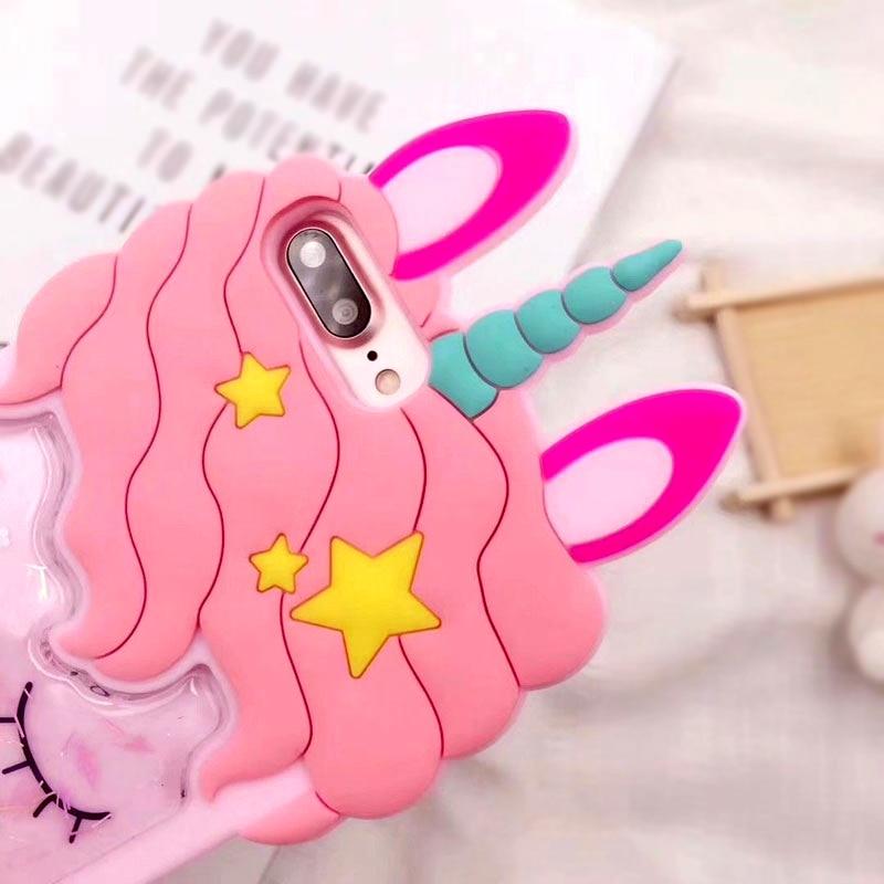 3D Cartoon Pink Quicksand Unicorn Soft Silicone Liquid Stars Case for Iphone 7 Plus 8 6 6S plus 5 S 5S SE XS Max XR X Phone Case (3)