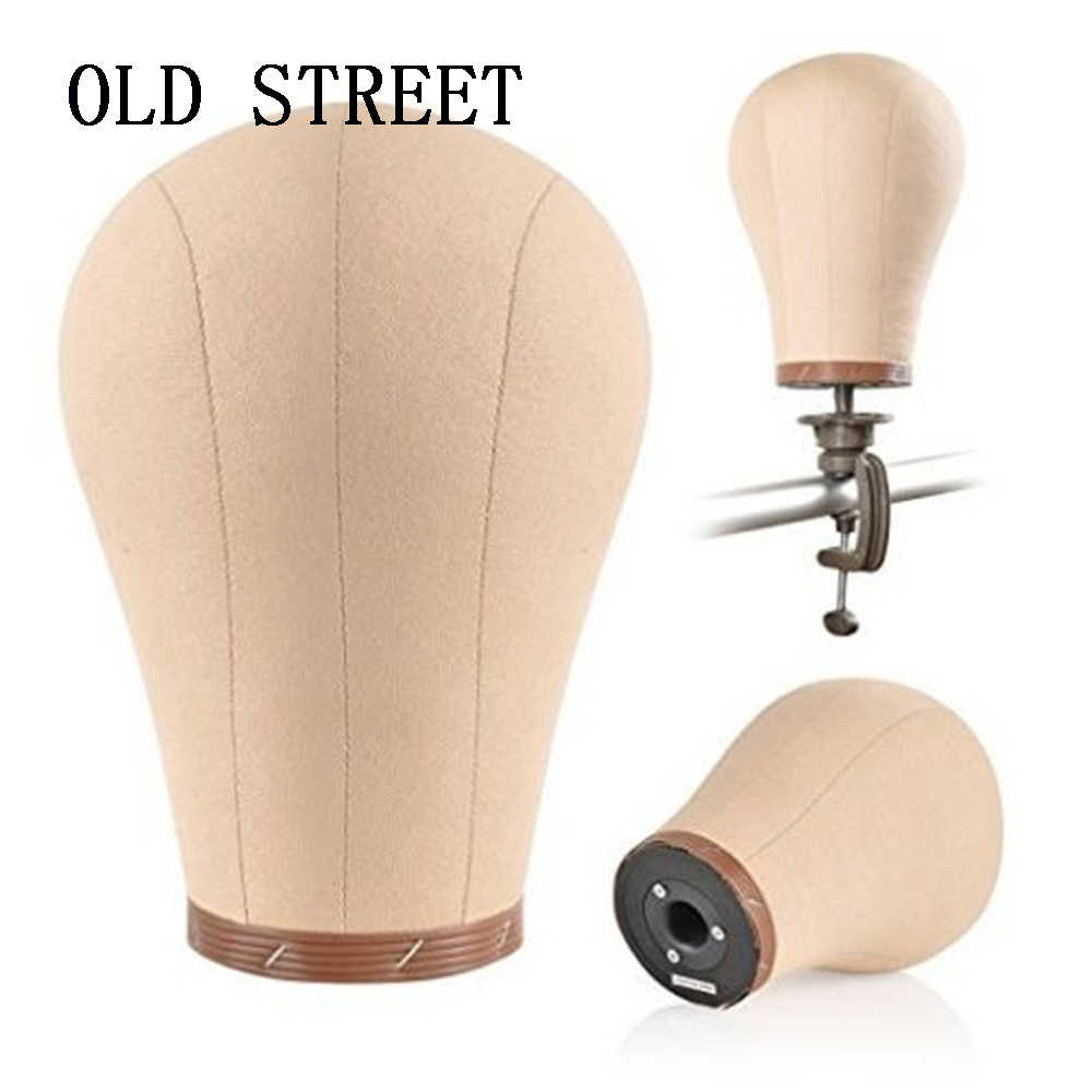 Canvas Block Mannequin Head With Cork Inside Manikin Head For Making Wigs Styling Beauty Clamp Tpins Tool